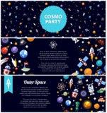 Комплект плоских рогулек дизайна с значками космоса и Стоковая Фотография