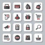 Комплект плоских современных значков сети покупок Стоковое Изображение