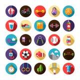 Комплект плоских спорта, фитнеса и здоровой дизайна Стоковые Фотографии RF