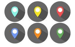 Комплект плоских указателей карты Стоковое Изображение