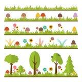 Комплект плоских элементов дизайна леса Грибы, трава, ягоды, t иллюстрация штока