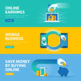 Комплект плоской линии знамен сети дизайна для онлайн заработка, оплаты согласно с щелчок, мобильный бизнес, m-коммерция бесплатная иллюстрация