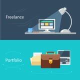 Комплект плоской концепции для портфолио и работать иллюстрация штока