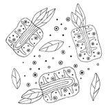 Комплект плодоовощей вектора нарисованных рукой ребяческих Милый детский ананас с листьями, семенами, падениями Doodle, эскиз, ст Стоковое Изображение