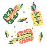 Комплект плодоовощей вектора нарисованных рукой ребяческих Милый детский ананас с листьями, семенами, падениями Doodle, эскиз, ст Стоковое фото RF