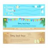 Комплект пляжа лета и предпосылки знамени моря бесплатная иллюстрация