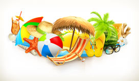Комплект пляжа лета иллюстрация штока