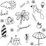 Комплект пляжа праздника doodle Стоковые Изображения RF