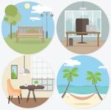 Комплект рабочего места и ослабляет вокруг знамен сети в плоском стиле Яркий офис дизайна, кафе, парки, гамак на острове бесплатная иллюстрация