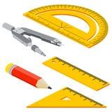 Комплект равновеликих измеряя инструментов: правители, треугольники, транспортир, карандаш и пары компасов Изолированные аппарату Стоковые Изображения RF