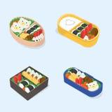 Комплект различного бенто Японское собрание коробок для завтрака Смешная еда шаржа Равновеликая красочная иллюстрация вектора иллюстрация вектора