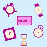 Комплект различного времени смысла часов Стоковое Изображение