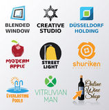 Комплект различного логотипа воодушевил формы Стоковое Изображение