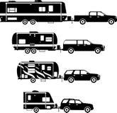 Комплект различного трейлера перемещения силуэтов Стоковые Изображения RF