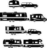 Комплект различного трейлера перемещения силуэтов Стоковое Изображение