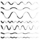 Комплект различной волнистой, изогнутой брошенной линии, элементов нашивки иллюстрация вектора