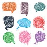 Комплект различной красочной речи клокочет, стиль чертежа руки Стоковые Фото