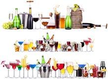 Комплект различных алкогольных напитков и коктеилей Стоковое Изображение RF