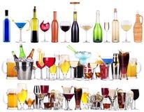 Комплект различных алкогольных напитков и коктеилов Стоковое Изображение RF