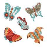 Комплект различных бабочек Стоковые Изображения