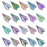 Комплект различных бумажных самолетов растр Стоковое Изображение