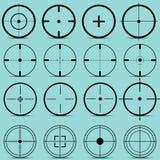 Комплект различных визирований на векторе предпосылки бирюзы Стоковое Изображение RF