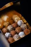Комплект различных видов домодельных трюфелей шоколада в golde Стоковое фото RF