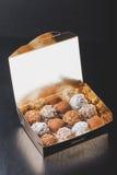 Комплект различных видов домодельных трюфелей шоколада в golde Стоковые Изображения