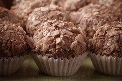 Комплект различных видов домодельных трюфелей шоколада селективно Стоковые Фото