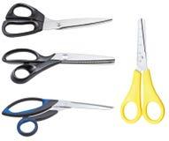 комплект различных закрытых ножниц изолированных на белизне Стоковое Фото