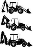 Комплект различных затяжелителей backhoe силуэтов на белой предпосылке Тяжелые машины конструкции и минировать Стоковое Фото