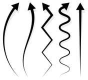 Комплект 5 различных длинных, вертикальных элементов стрелки с тенью иллюстрация вектора