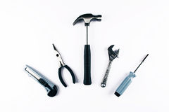 Комплект различных инструментов на белой предпосылке Стоковое Изображение