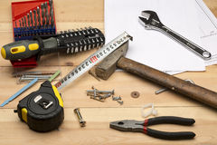 Комплект различных инструментов для ремонта и конструкции Стоковые Фото