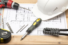 Комплект различных инструментов для ремонта и конструкции стоковое фото