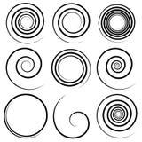 Комплект 9 различных концентрических спиральных элементов Абстрактное geometri иллюстрация штока
