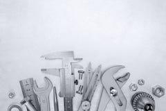 Комплект различных ключей, винтов, болтов и сверла для домашнего renova Стоковые Фото