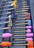 Комплект различных меля и режа аксессуаров для мини машины сверла Стоковое фото RF