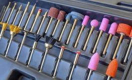 Комплект различных меля и режа аксессуаров для мини машины сверла Стоковая Фотография