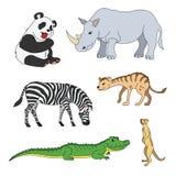 Комплект различных милых животных, животных сафари Панда, зебра, аллигатор, крокодил, суслик, носорог, носорог, гиена бесплатная иллюстрация