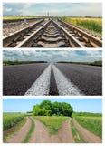 Комплект различных дорог к горизонту Стоковое Изображение