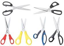 Комплект различных открытых ножниц изолированных на белизне Стоковые Фотографии RF