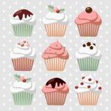Комплект различных пирожных рождества, булочки, иллюстрация вектора