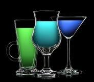 Комплект различных пить в различных стеклах Стоковая Фотография RF