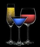 Комплект различных пить в различных стеклах Стоковое фото RF