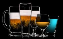 Комплект различных пить в различных стеклах Стоковые Фотографии RF