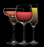 Комплект различных пить в различных стеклах Стоковая Фотография
