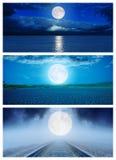 Комплект различных поверхностей с луной в ноче Стоковая Фотография