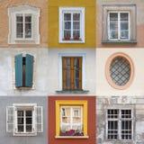 Комплект различных покрашенных коробок на покрашенных фасадах Стоковые Фотографии RF