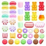 Комплект различных помадок сортированные конфеты Стоковое Фото